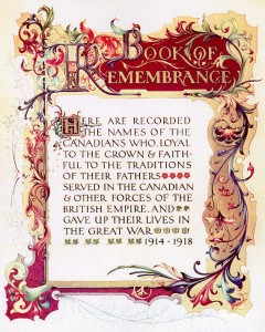 Beautiful cover page of First World War Book of Remembrance