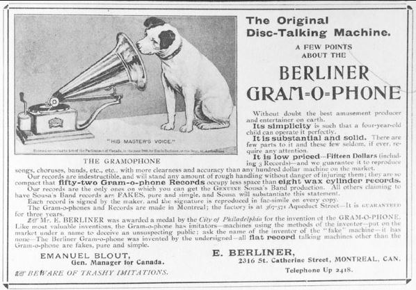 Montreal advertisement for Berliner Gram-o-phone Company, 1900