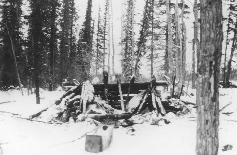 Johnson's cabin in splinters after he used dynamite on his own home